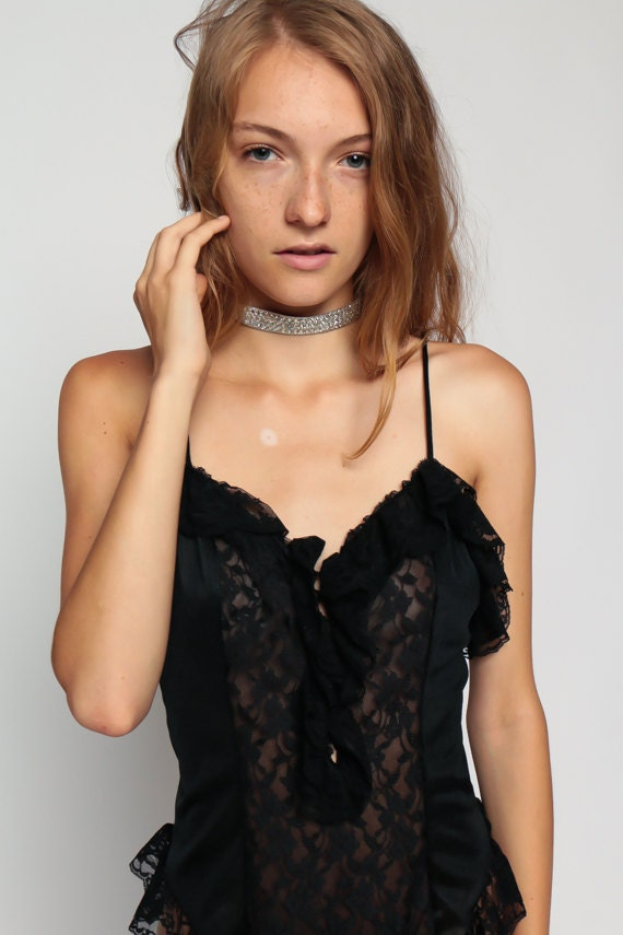 Lingerie Romper Bodysuit Black Lace Teddy 80s Cami Top High