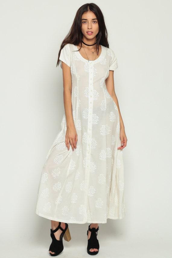 White Floral Dress SHEER 90s Grunge Boho Maxi Cotton Button