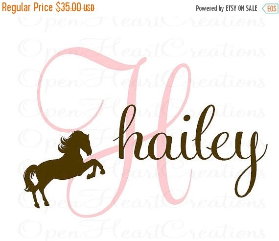 ON SALE Girl Name Wall Decal - Initial and Name with Horse Clip Art - Vinyl Wall Decal for Baby Nursery Bedroom Girl Teen 22h x 32w IN0033