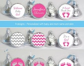 baby shower favors (No.k52) girl footprint chevron gray pink candy stickers