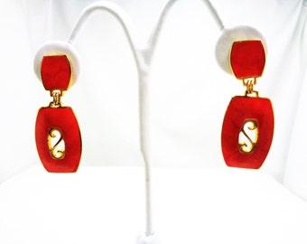 Vintage Berberi Red Dangle Clip-On/Screw Back Earrings