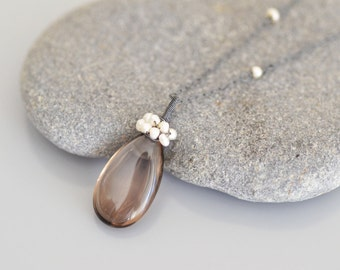 Smoky Quartz Sterling Silver Pendant Necklace - Smooth Pear Drop, Wire Wrapped Pendant - Teeny Tiny Freshwater Pearls, Oxidized