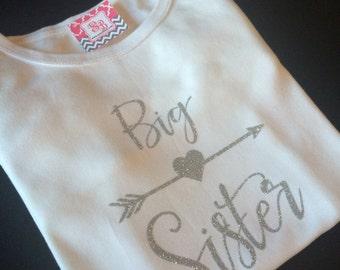 Silver Glitter Big sister t-shirt