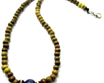 set simple casual  brown wood beads men necklace natural lapis lazuli gemstone bone bead and stretch bracelet