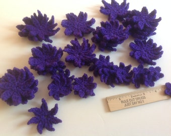 Crochet Flowers Handmade Flower Embelishments Purple Crochet Flower  appliqués  - set of 25