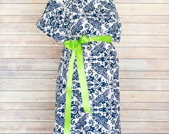 ON SALE 40% OFF- Navy Damask Maternity Hospital Delivery Gown -Super Soft Fabric -Perfect Snaps for Breastfeeding & Skin to Skin