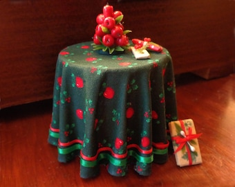 1/12 Scale (Dollhouse) Cloth Covered Christmas Table with Red Apples, Holly Leaf & Berries Design, Satin Ribbon Trim - Indoor Fairy Garden