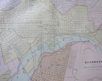 1891 Antique City Map-Richmond/Pittsburgh/Buffalo- 3 Sided Atlas Page 21 x 14.5 in Great for Framing