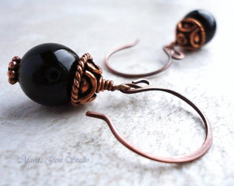 Black Onyx Earrings in Antiqued Genuine Copper, Gemstone Jewelry, Handcrafted