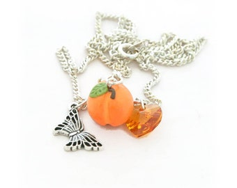 Peach Necklace - Fruit Necklace - Silver Charm Necklace - Georgia Peach - Dainty Necklace - Food Jewelry - Gifts for Her - Gifts Under 10