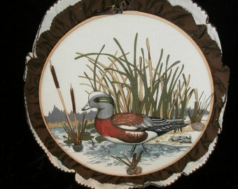 3-D Wall Hanging Wood Duck,Cat~tails Hand~ Made Embroidery Wood Loop,