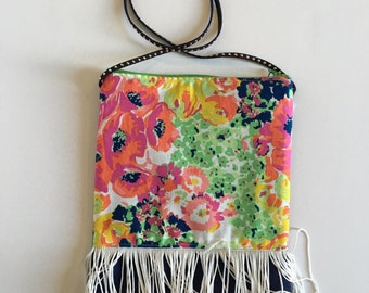 Little Girls Purse navy with flowers and fringe