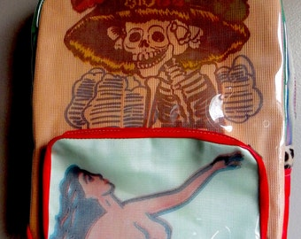 Day of the Dead/La Sirena Backpack Leather & Clear Vinyl Handmade Downtown Los Angeles