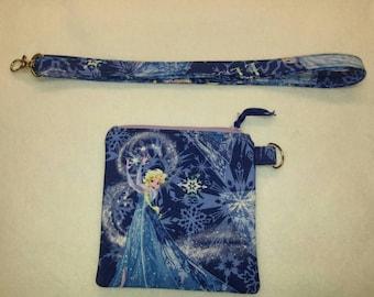 Disney Frozen Elsa lanyard and zippered coin/card pouch, handmade