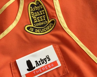 Vintage 1970s Womens Size S-M Arby's Uniform Apron with Name Tag / 70s 80s Fast Food Restaurant Uniform / Orange Yellow, Halloween Costume