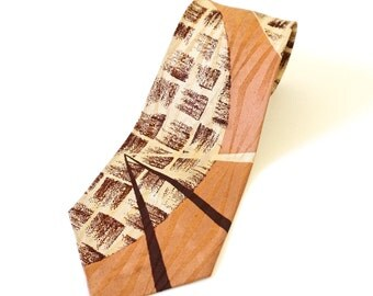"Vintage 1960s Neck Tie / 53""L, Copper Ecru Brown Acetate, Mid Century Pattern"