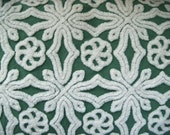 Green Hofmann Vintage Chenille Bedspread Fabric 18 x 24 Inches