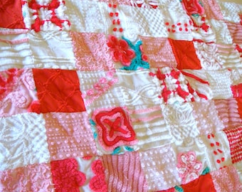 CUSTOM QUILT SAMPLE ~ Peppermint Red, Blushing Pink Vintage Cotton Chenille Patchwork Quilt