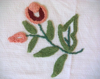 RetRac Overtufted Burgundy and Pink Floral Vintage Chenille Fabric 14 x 15 Inches