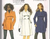 Double Breasted Coat Butterick 5685 Jacket Pattern, Coat Pattern, Shawl Collar, Princess Seams, 8 10 12 14 16, Cup Size A B C D