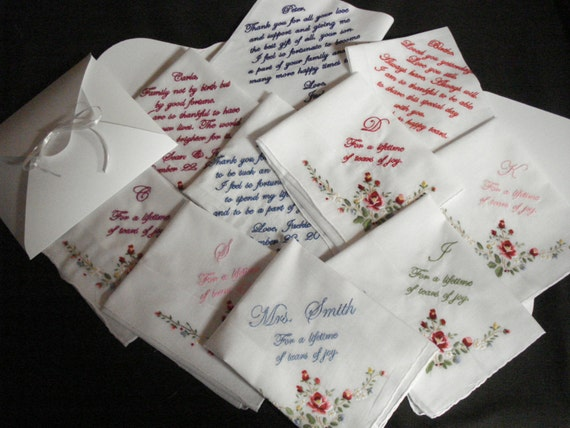 Wedding handkerchiefs free shipping machine embroidered
