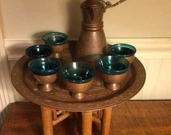 Antique Arabic Copper Coffee/Tea Set with Table and Cobalt Glass Inserts