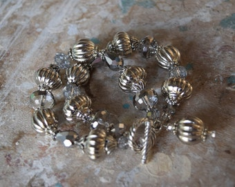 Chunky Two Strand Bracelet with Silver Beads and Silver Crystals