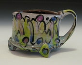 modern graffiti chili soup mug with lime green lilac purple and white