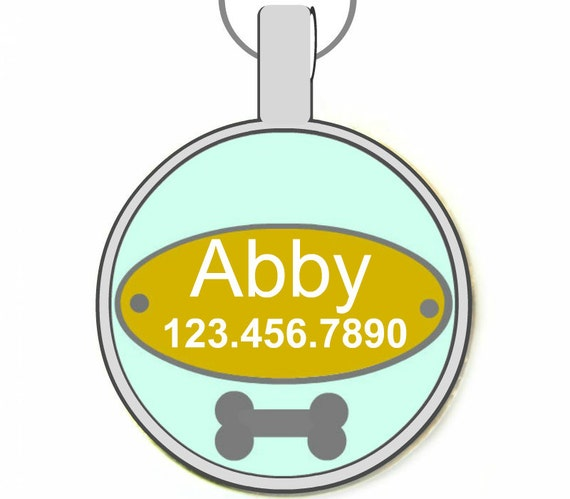 Teal Doggy Nameplate- Personalized Dog ID Pet Tag Custom Pet Tag You Choose Tag Size & Colors
