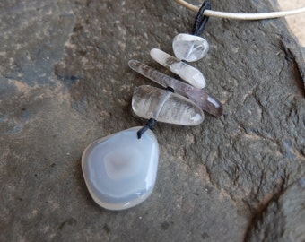 Agate & Quartz jewelry  - unique natural stone pendant necklace - handmade in Australia