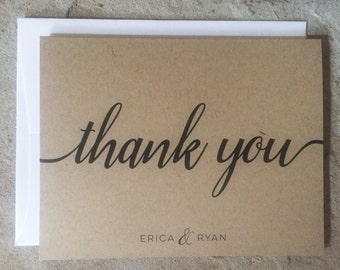 Personalized Thank You Cards - Wedding Thank You Notes - Kraft Thank Yous - set of 10+