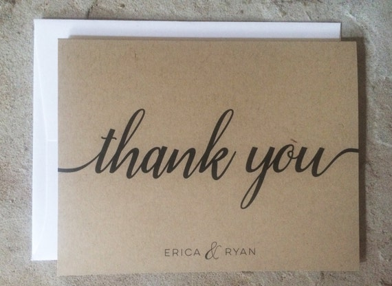 personalized thank you cards wedding thank you notes kraft thank