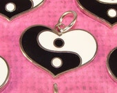 2 Yin Yang HEART Charms Enameled Silver Black & White Vintage Stock 1980s 1990s Retro for Key Rings Necklace Pendant Jewelry Supplies