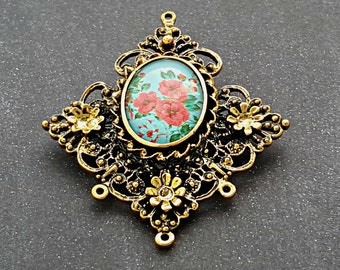 Lucinda antique gold glass cameo brooch