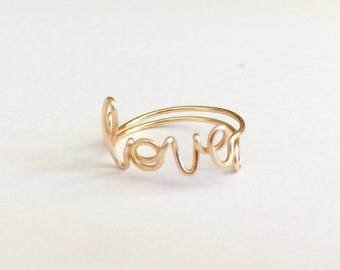 Adjustable gold plate Love wire ring,  handmade wire rings