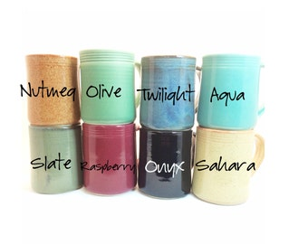 Set of 8 YOU CHOOSE COLOR-- Large Mugs-- Hand crafted ceramic pottery--  16 oz coffee, cocoa, tea or iced drink cup