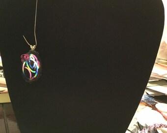 Black Oval Glass Pendant