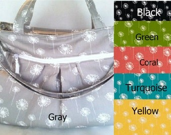 Gray Dandelion Diaper Bag, Tote Bag, cross body bag, gray diaper bag,  cloth diaper bag, nappy bag