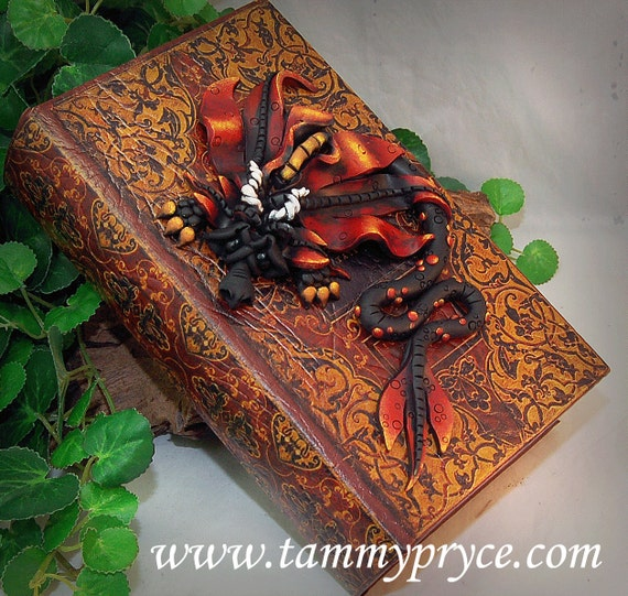 Red Clay Dragon: Ooak Polymer Clay Red & Black Sad Little Dragon Collectible
