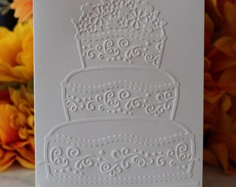 Wedding Cake Embossed Note Cards w/ Envelopes - Ideal For Thank You Notes, Weddings, Invitations and Everyday Correspondence. FREE SHIPPING