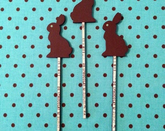 Chocolate Easter Rabbit Bunny 3 Hand Painted Wood Picks OOAK