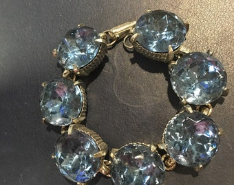 Vintage Chunky Blue Rhinestone Link Bracelet 1940s