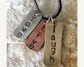 SALE LOVE LIVE Laugh - Inspirational token jewelry - mixed metals