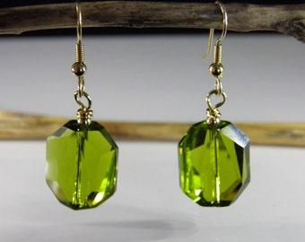 Swarovski Crystal Earrings - Olive Green Faceted Crystal Earrings - Dangle Earrings - READY TO SHIP