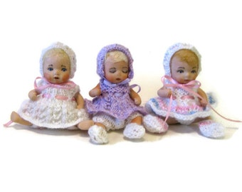 "Dolls 4"" handcrafted in porcelain from Dianna Effner molds wearing crocheted dresses"