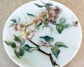Vintage Hand Painted Milk Glass Plate Pink Apple Blossoms Embossed Shabby Cottage Chic 1910s