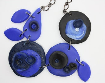Handmade Asymmetrical Chunky Polymer Clay Necklace in Blue