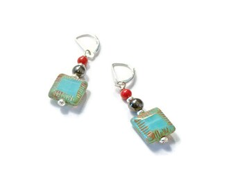 Turquoise, Red, and Black Magnetic Hematite Earrings, Holistic Jewelry