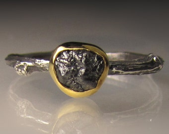 Natural Rough Black Diamond Twig Ring, Blackened Sterling Silver and 22k Gold, Black Raw Diamond Engagement Ring