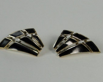 Gold tone and Black Enameled Crown Trifari Earrings.